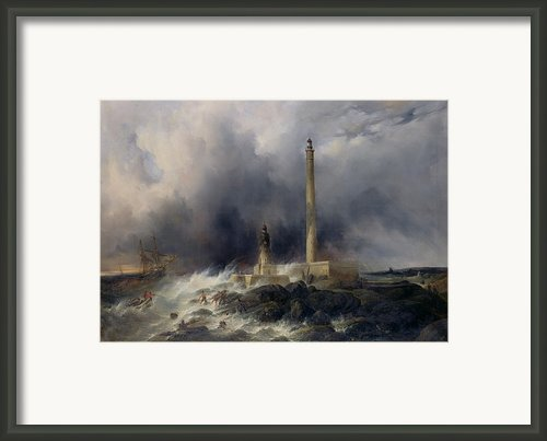 View Of The Lighthouse At Gatteville Framed Print By Jean Louis Petit
