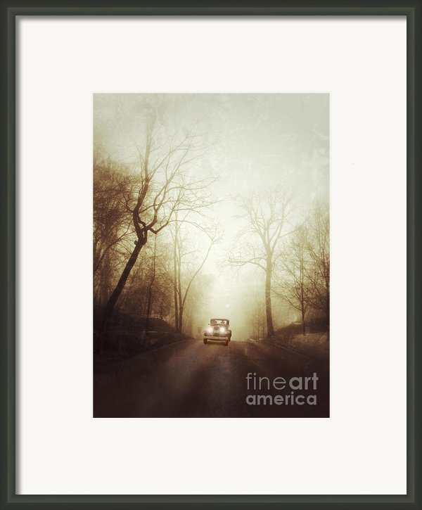 Vintage Car On Foggy Rural Road Framed Print By Jill Battaglia