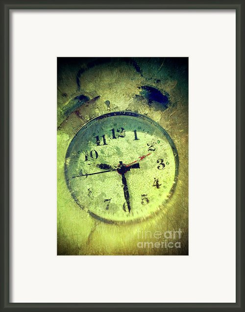 Vintage Clock Frozen In Ice Framed Print By Sandra Cunningham