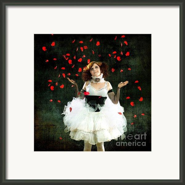 Vintage Dancer Series Raining Rose Petals  Framed Print By Cindy Singleton