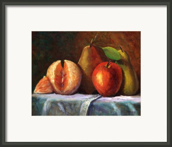 Vintage-fruit Framed Print By Linda Hiller