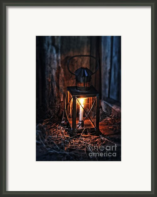 Vintage Lantern In A Barn Framed Print By Jill Battaglia