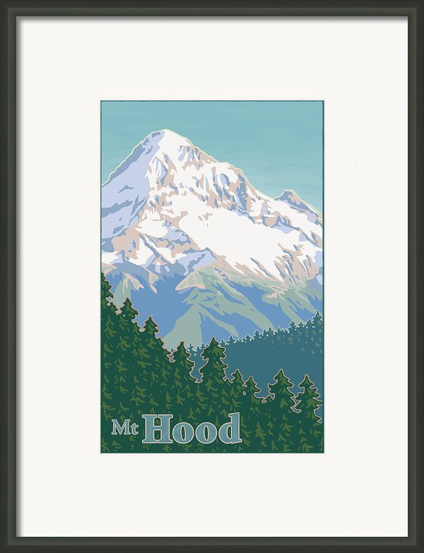 Vintage Mount Hood Travel Poster Framed Print By Mitch Frey