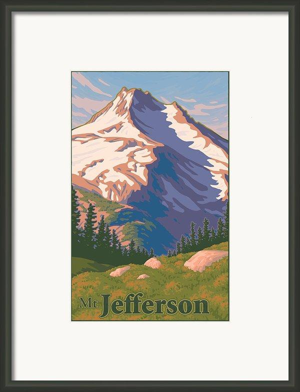 Vintage Mount Jefferson Travel Poster Framed Print By Mitch Frey