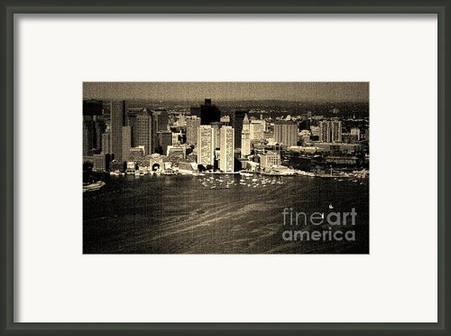Vintage Style Boston Skyline Framed Print By Marjorie Imbeau