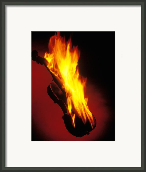 Violin On Fire Framed Print By Garry Gay