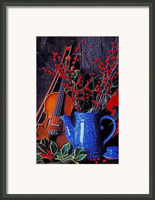 Violin With Blue Pot Framed Print By Garry Gay