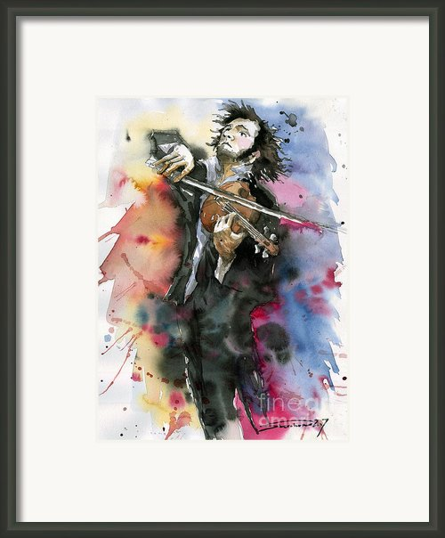 Violine Player. Framed Print By Yuriy  Shevchuk