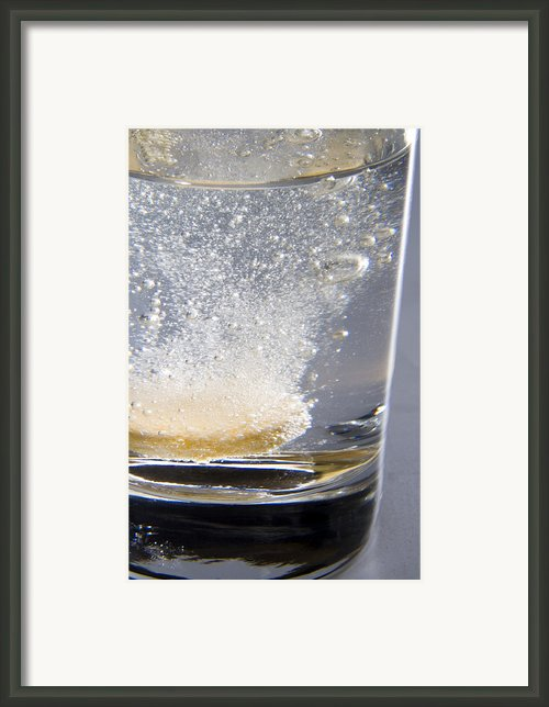 Vitamin Tablet Dissolving In Water Framed Print By Sheila Terry
