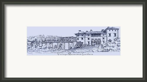 Vizcaya Museum In Blue Framed Print By Lee-ann Adendorff