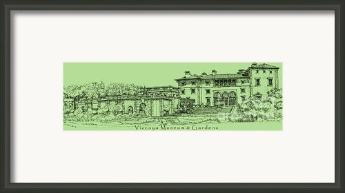 Vizcaya Museum In Olive Green Framed Print By Lee-ann Adendorff