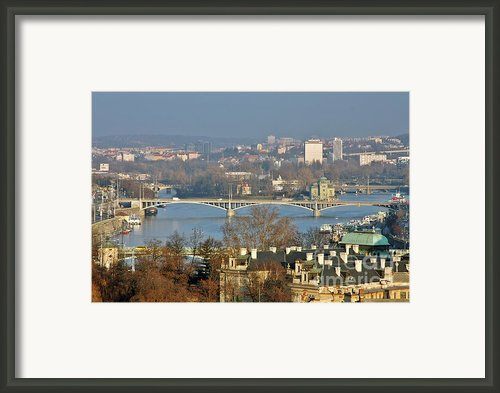Vltava River In Prague - Tricky Laziness Framed Print By Christine Till