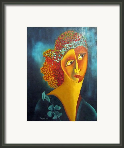 Waiting For Partner Orange Woman Blue Cubist Face Torso Tinted Hair Bold Eyes Neck Flower On Dress Framed Print By Rachel Hershkovitz