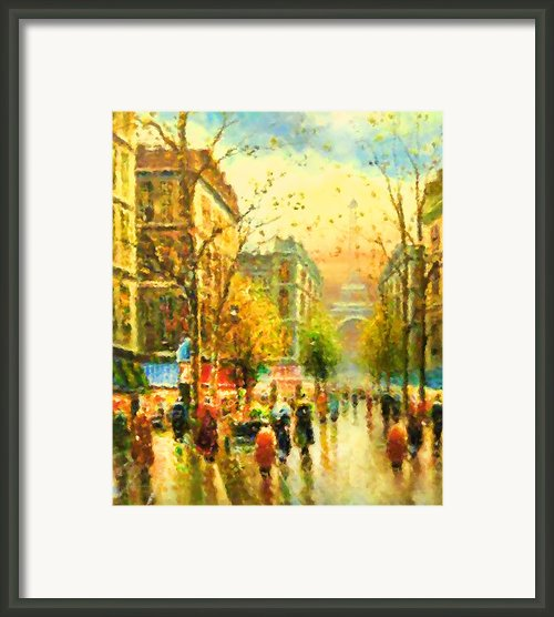 Walking In The Rain Framed Print By Zeana Romanovna