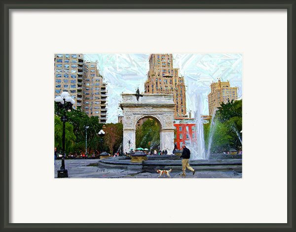 Walking The Dog At Washington Square Park Framed Print By Randy Aveille