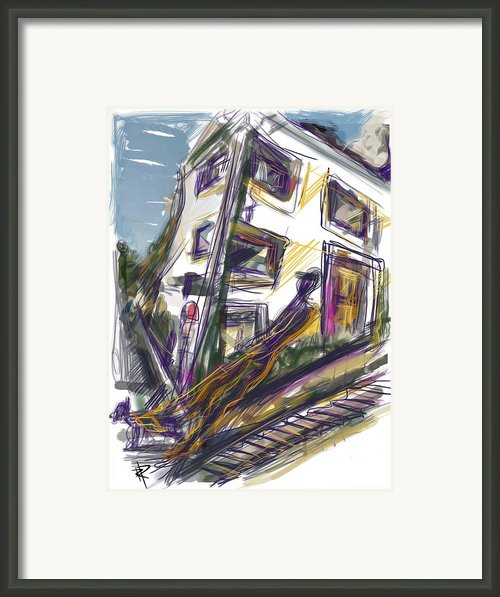 Walking The Dog On Dolores Street Framed Print By Russell Pierce