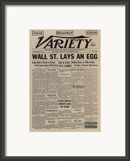 Wall Street Lays An Egg. Famous Framed Print By Everett