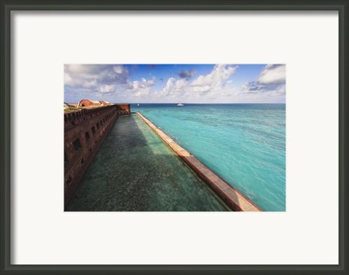 Walls And Moat Of  Fort Jefferson Framed Print By George Oze