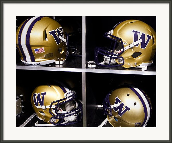 Washington Huskies Football Helmets  Framed Print By Replay Photos
