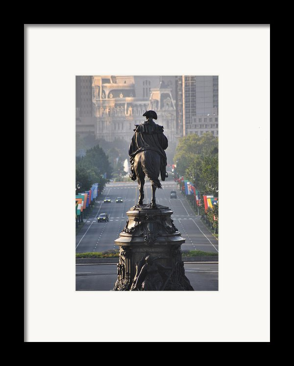 Washington Looking Down The Parkway - Philadelphia Framed Print By Bill Cannon