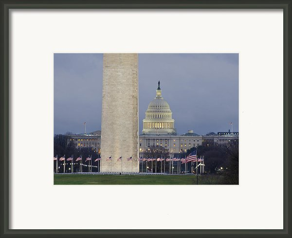 Washington Monument And United States Capitol Buildings - Washington Dc Framed Print By Brendan Reals