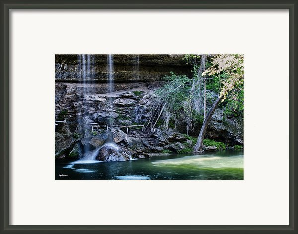 Water And Lights At Hamilton Pool Framed Print By Lisa  Spencer