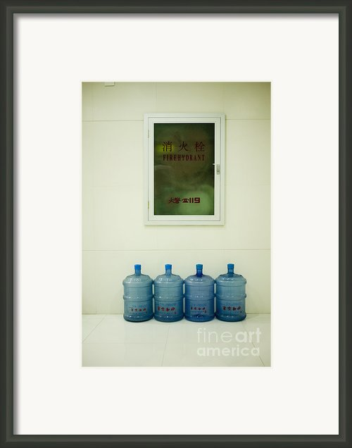 Water Cooler Bottles And Fire Hydrant Cabinet Framed Print By Andersen Ross