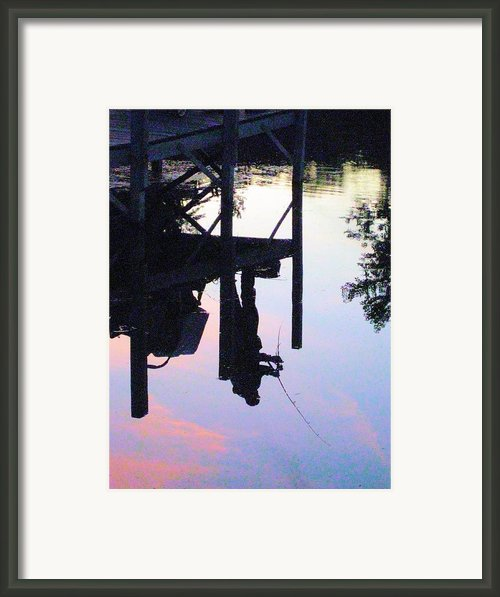 Water Reflection Of A Fisherman Framed Print By Judy Via-wolff