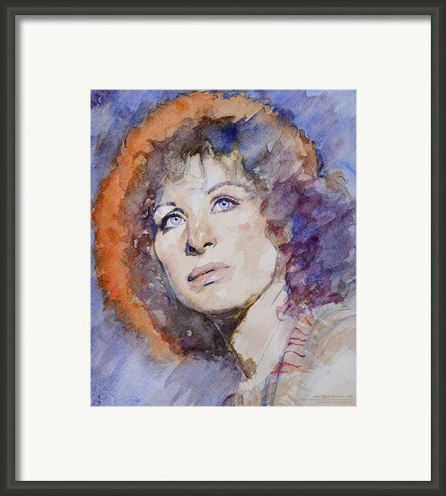 Watercolor Of Barbra Streisand Super High Res  Framed Print By Mark Montana