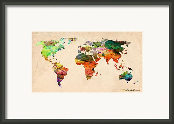 Watercolor World Map  Framed Print By Mark Ashkenazi