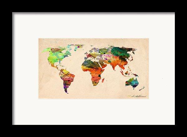 Watercolor World Map  Framed Print By Mark Ashkenazi