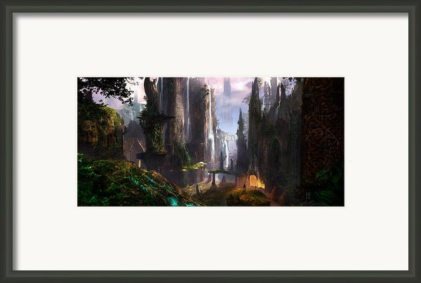Waterfall Celtic Ruins Framed Print By Alex Ruiz