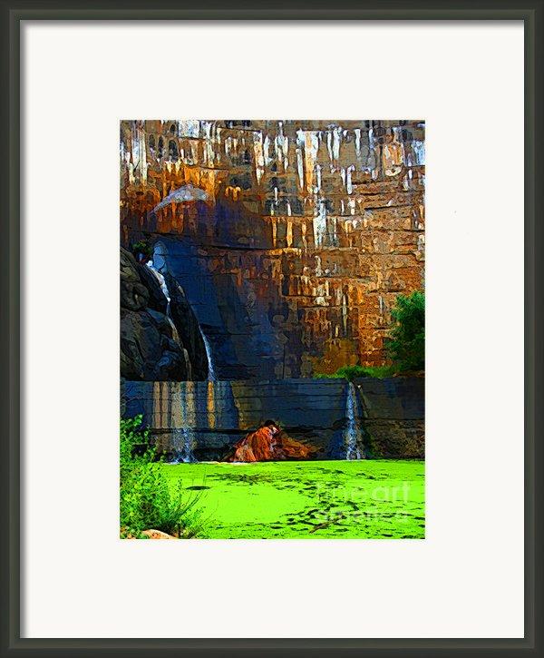 Watson Lake Waterfall Framed Print By Julie Lueders