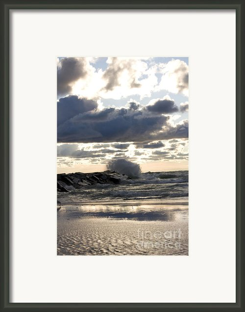 Wave Crashing Into Jetty On Lake Michigan Framed Print By Purcell Pictures