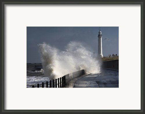 Waves Crashing By Lighthouse At Framed Print By John Short