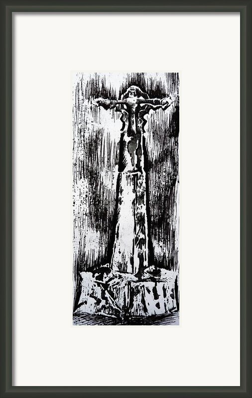 Wayside Cross Framed Print By Lucy Deane