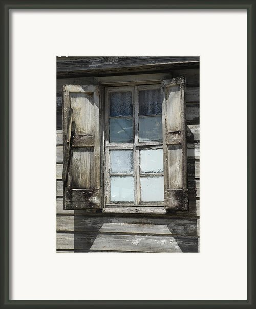 Weatherd Window Framed Print By Kathy Gibbons