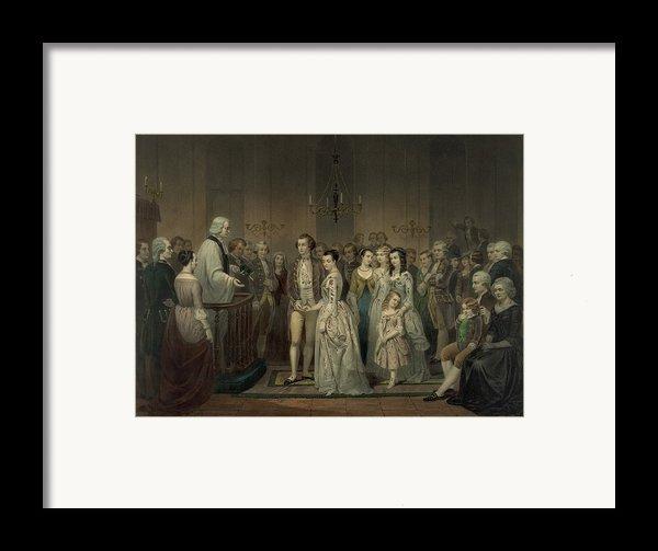 Wedding Of George Washington And Martha Framed Print By Everett