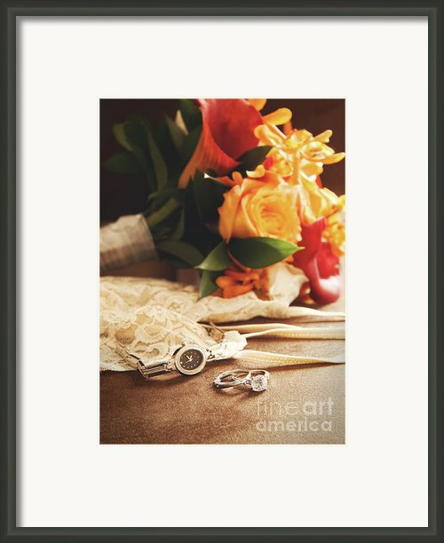 Wedding Ring With Bouquet On Velvet  Framed Print By Sandra Cunningham