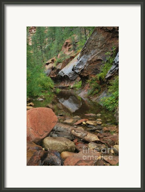 West Fork Trail River And Rock Vertical Framed Print By Heather Kirk