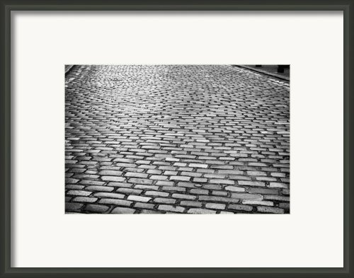 Wet Cobblestoned Huntly Street In The Union Street Area Of Aberdeen Scotland Framed Print By Joe Fox