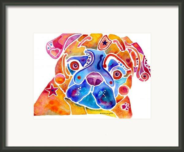 Whimsical Pug Dog Framed Print By Jo Lynch
