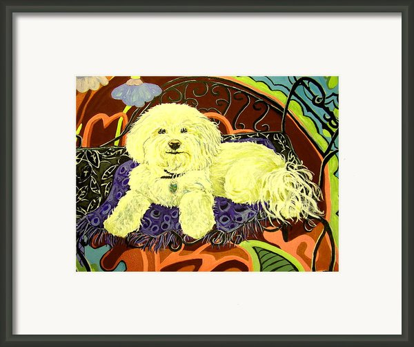 White Dog In Garden Framed Print By Patricia Lazar