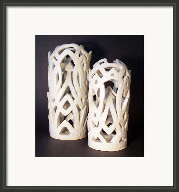 White Interlaced Sculptures Framed Print By Carolyn Coffey Wallace
