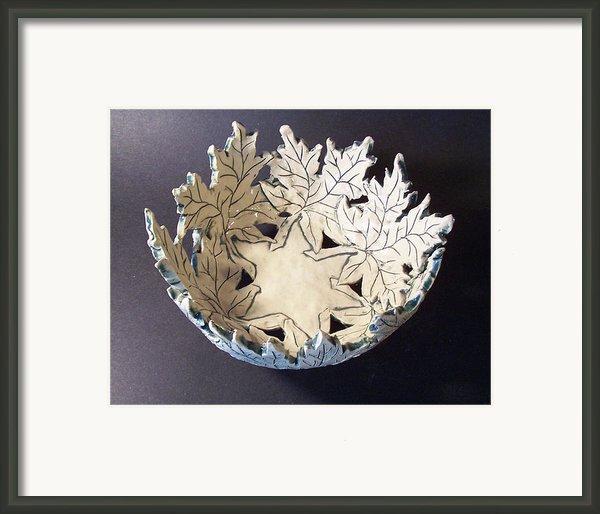 White Maple Leaf Bowl Framed Print By Carolyn Coffey Wallace