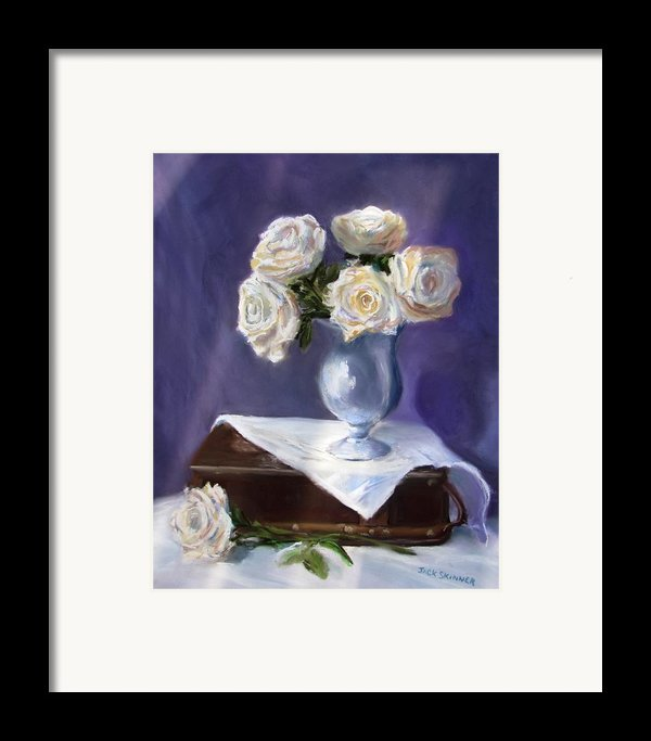 White Roses In A Silver Vase Framed Print By Jack Skinner