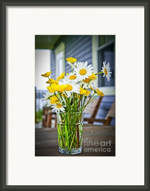 Wildflowers Bouquet At Cottage Framed Print By Elena Elisseeva