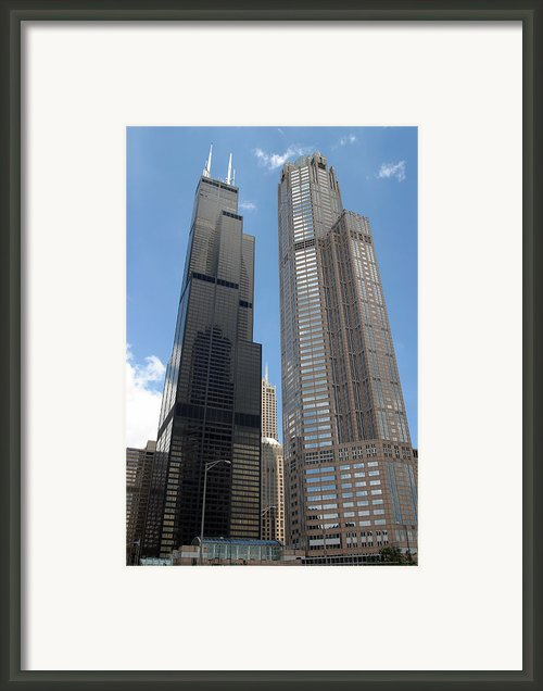 Willis Aka Sears Tower And 311 South Wacker Drive Framed Print By Adam Romanowicz