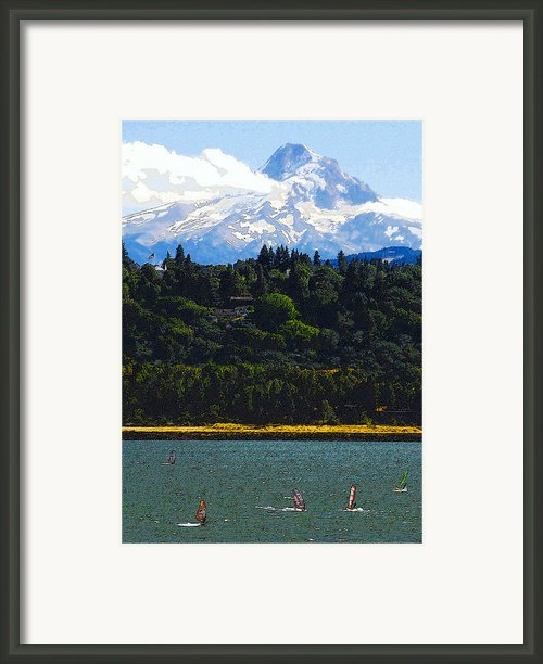 Wind Surfing Mt. Hood Framed Print By David Lee Thompson