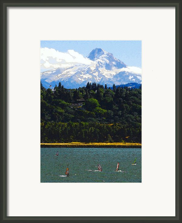 Wind Surfing Mt. Hood Framed Print By David Lee Thompson